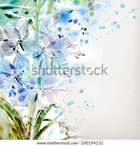 Watercolor painting. Blue flowers - stock photo
