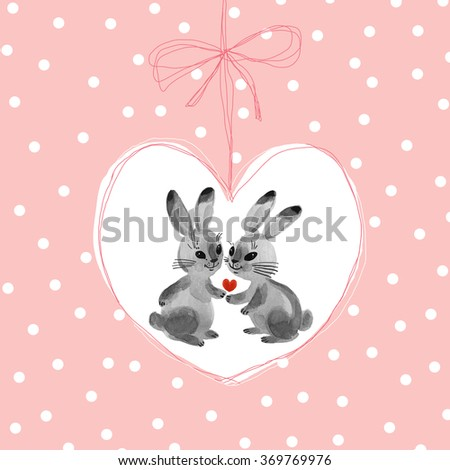 Watercolor painting bunnies in the background-5 . Beautiful background for your text. Congratulations to the St. Valentine's Day. Pink polka dot background. - stock photo