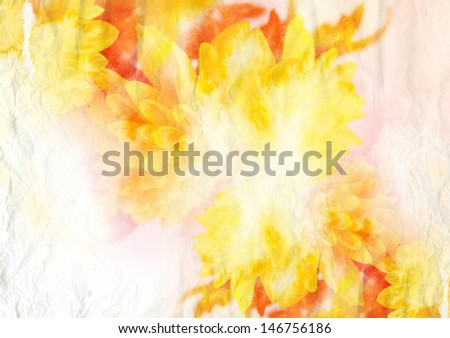 Watercolor painting combined with flowers on paper texture - stock photo