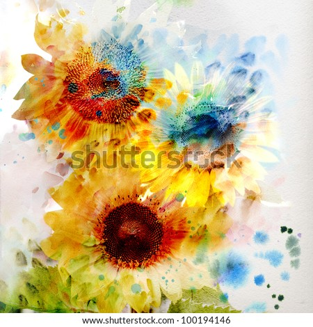 Watercolor painting. expressive sunflowers - stock photo