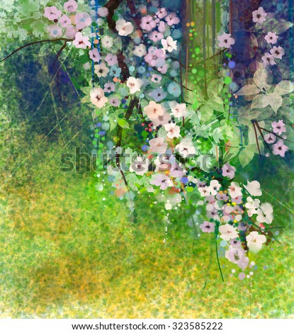 Watercolor painting flowers and soft green leaves. Yellow-green color texture on grunge paper background. Vintage painting flowers style in soft color and blur background for your design - stock photo