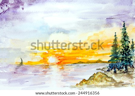 watercolor painting landscape seascape seaside Sunset on the sea in summer - stock photo