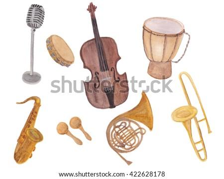WAtercolor Painting Musical Instruments Set Violin Microphone Drum Horn Saxophone