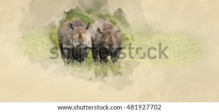 Watercolor painting of Black rhinoceros in field