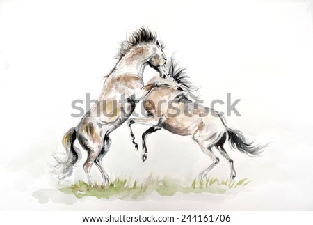 Watercolor painting of fighting horses - stock photo