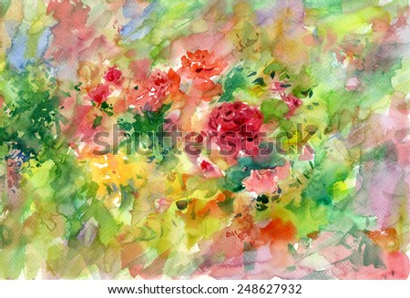 watercolor painting of flower  - stock photo