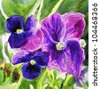 watercolor painting of flowers - stock photo