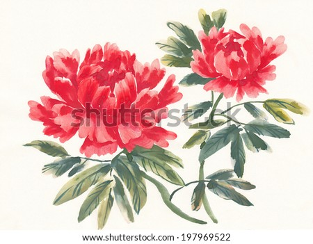 watercolor painting flowers red peony chinese stock illustration
