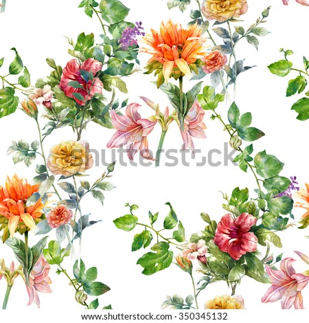 Watercolor painting of leaf and flowers, seamless pattern on white background - stock photo