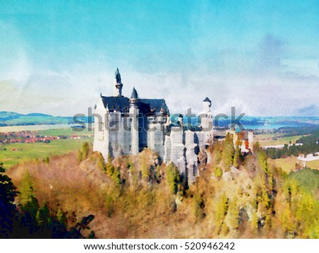 Watercolor painting of Neuschwanstein castle