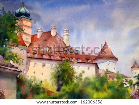 Watercolor painting of the old temple in Wachau, Austria - stock photo