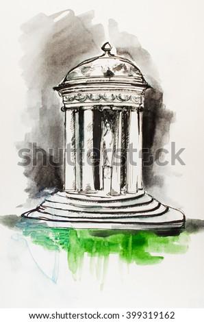 "Watercolor painting ""Old gazebo"" - stock photo"