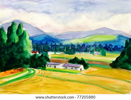 Watercolor Painting - Peaceful Village - stock photo