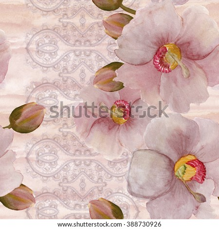 Watercolor painting seamless pattern with beautiful Melastomataceae blakea subconnata flower and bud on vintage lace background.