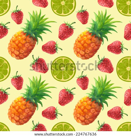 Watercolor painting seamless pattern with fruits and berries on a colored background. Pineapple, strawberry, citrus slices - stock photo