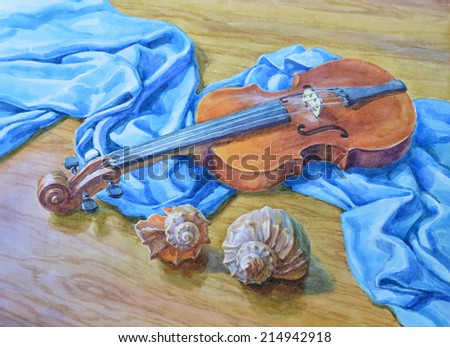 Watercolor Painting Still Life The Violin And Seashells On Table