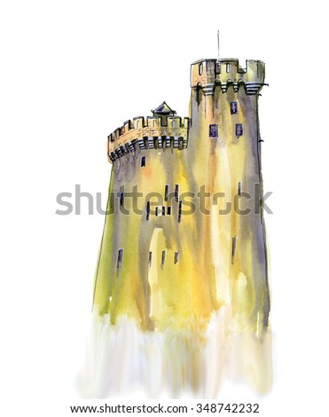 Watercolor painting with ink sketch. Old temple in France. - stock photo