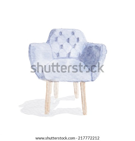 Watercolor paintings of vintage armchair. - stock photo