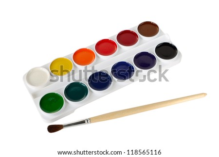 Watercolor paints and paintbrush on a white background - stock photo