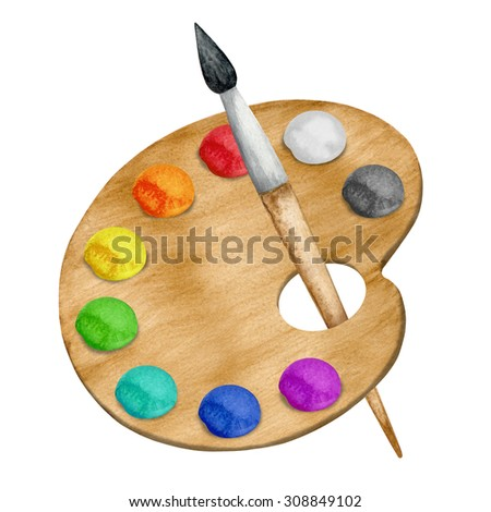 Watercolor palette, paints, paint brush closeup  isolated on white background set. Hand painting on paper - stock photo
