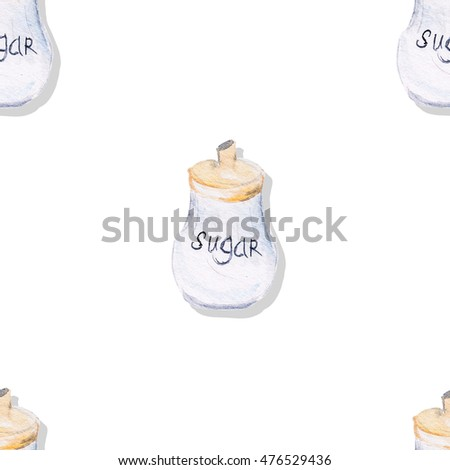 Watercolor pattern illustration of a sugar cup