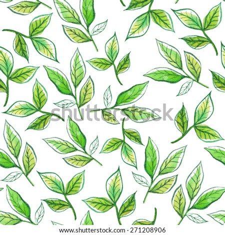Watercolor pattern of leaves and twigs. Seamless floral pattern.