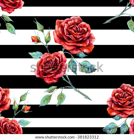 watercolor pattern rose red, striped seamless black pattern - stock photo