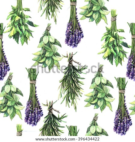 Watercolor pattern with aromatic herb. Handmade. Seamless pattern for fabric, paper and other printing and web projects. - stock photo