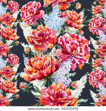 Watercolor Pattern With Flowers Red Peony Lilac Delicate Vintage Vertical Line