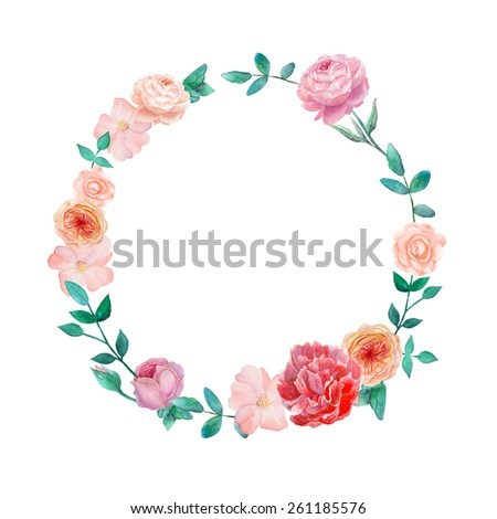 Watercolor peony, ranunculus and roses flowers wreath. Round frame with garden roses, plants, pastel peony and leaves branches. Raster hand drawn illustration - stock photo
