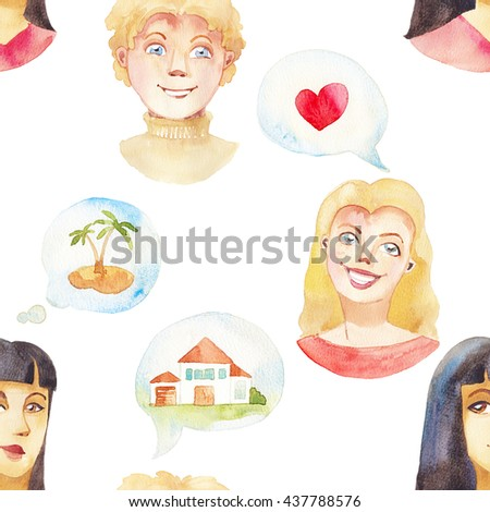 Watercolor people seamless pattern. Hand drawn dreaming faces: young girl and boy, communication bubble with heart, house, vacation. Social cartoon wallpaper - stock photo
