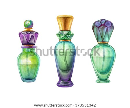 watercolor perfume jar set, vivid glass scent bottles clip art, fashion illustration isolated on white background - stock photo