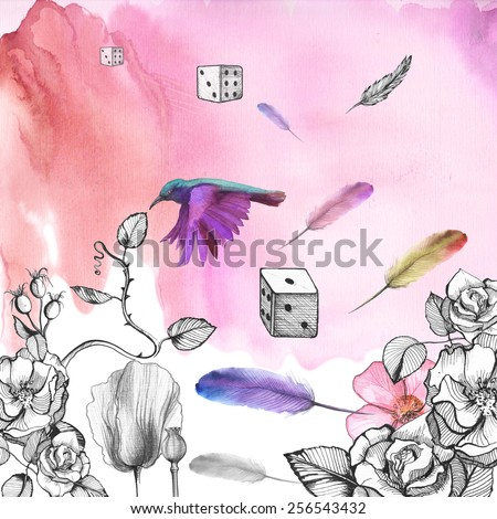 Watercolor pink background with ornament made of flowers: roses, rose, poppies with flying feathers, dice, hummingbirds. - stock photo