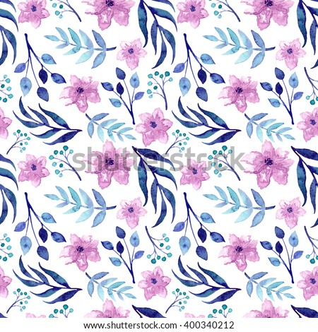 Watercolor Pink Flowers And Blue Leaves Repeat Pattern - stock photo