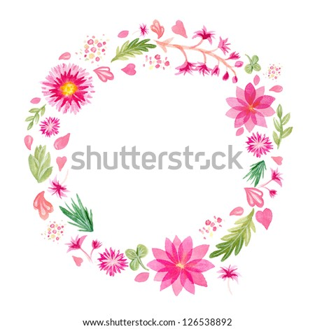 Watercolor pink flowers frame template #1 - stock photo