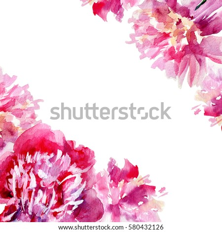 Watercolor Pink Peony Garden Flower Isolated On White Background Botanical Hand Drawn Illustration Frame
