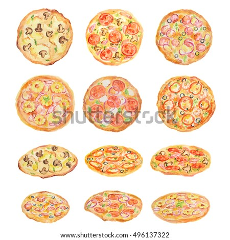 Watercolor pizza set on white background. Fresh and hot italian snack.