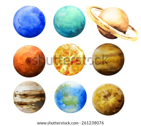 Watercolor planets. Sun, Mercury, Venus, Earth, Mars, Jupiter, Saturn, Uranus, Neptune - stock photo