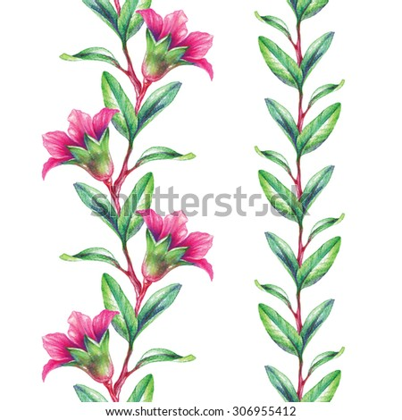 watercolor pomegranate branch, flowers and leaves seamless border set, Christmas festive garland, watercolor illustration isolated on white background - stock photo