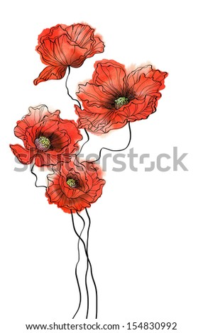 Watercolor poppies on white background - stock photo