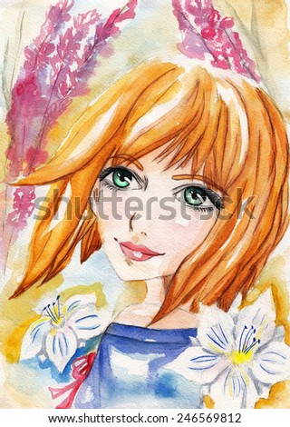 Watercolor portrait of a girl with flowers