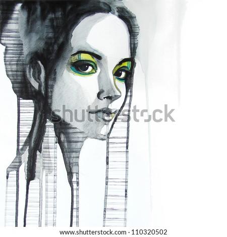 watercolor portrait of beautiful girl | handmade | self made | painting - stock photo