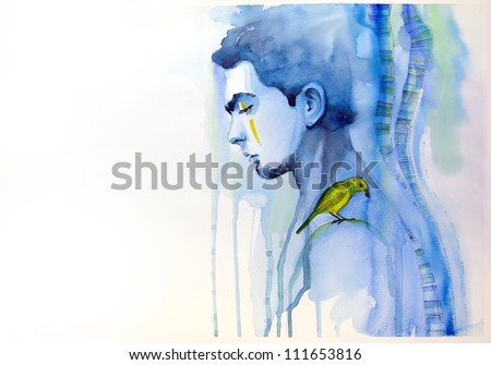 watercolor portrait of young man with little bird | handmade | self made | painting - stock photo