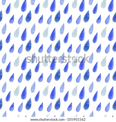 watercolor rain drops, seamless background with stylized blue raindrops.Wallpaper, creative watercolor fabric, blue wrapping with water drops ornaments - autumn theme for design. - stock photo