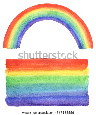 Watercolor rainbow and gradient fill with uneven edges. Hand drawn watercolour painted background. Bright rainbow stripes with stains. Rainbow brush stroke isolated in white backdrop. - stock photo