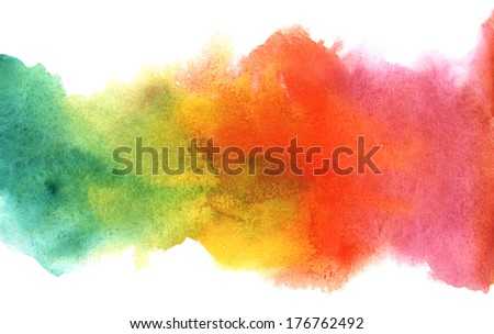 Watercolor rainbow border. Grunge paper template. Water, wet paper. Blobs, stain, paints blot. Composition for scrapbook elements, invitation or greeting card design. - stock photo