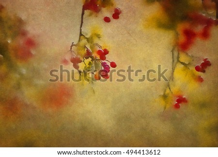 Watercolor red berries on paper background
