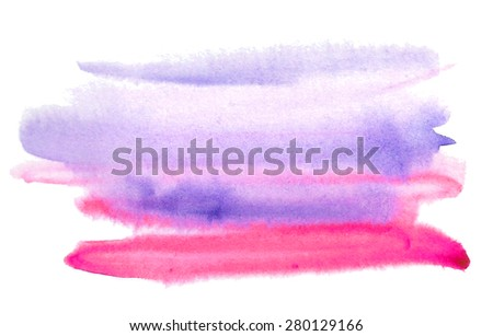 Watercolor red violet hand drawn paper texture isolated stain on white background. Wet brush painted strokes abstract striped illustration. Design artistic element for banner, template, print - stock photo