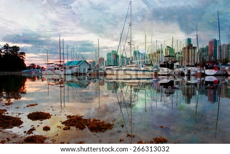 Watercolor rendition of the Stanley Park Marina in Vancouver, British Columbia. - stock photo