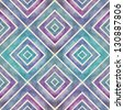Watercolor retro seamless pattern with squares, abstract  hand drawn backdrop, mosaic squares ornament. Copy that square to the side and you'll get seamlessly tiling pattern. - stock photo